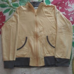 Yellow Trimmed in Gray Zip Up Jacket Size M/L